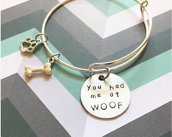 You had me at woof dog mom adjustable bangle bracelet dog mom jewelry dog lover jewelry dog mom bracelet dog lover bracelet dog mom gift
