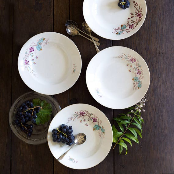 French Handpainted Garden Violet Soup Dishes - set of 4