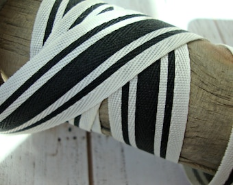 Black and Ivory Stripe Twill Ribbon