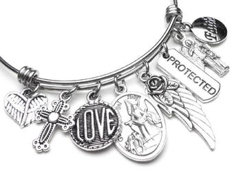 Guardian Angel Catholic Holy Medal Charm Bangle Bracelet, Stainless Steel,  Love Protected Angel Wing Faith, Devotional Jewelry