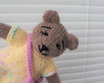 Knitted Teddy Bear Girl Baby Kids Gift