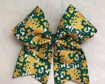 Camo Hair Bows/Forest Green,White and Yellow Camo HairBows/ Camo Cheer Bows/Camo Softball Bows