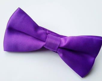 Purple Satin Bow tie, Pre-tied bow tie, Double Bow tie, Wedding Bow tie