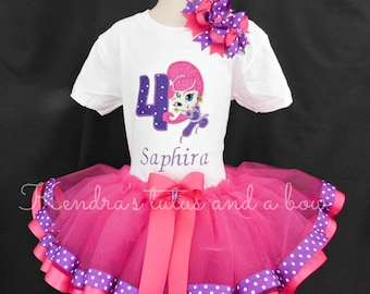 Shimmer and shine Themed 1st, 2nd 3rd, 4th 5th 1-5 birthday  tutu set