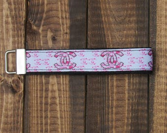 "Pink and White C Fashion Brand Keychain Wristlet with Black Webbing Gifts under 10 |  3"" or 6"""