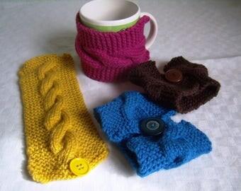 knit cabled cuff coffee mug, Cup cozy, blanket