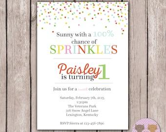 PRINTABLE- Sprinkle Birthday Invite- Birthday Party Invite- Birthday Invite- First Birthday Invite- Invite- Invitation- 5x7JPG