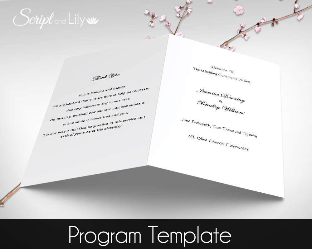 Printable Catholic Wedding Program EDITABLE Text DiY Plain - Pages wedding program template