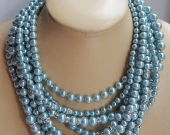 blue chunky pearl choker with rhinestone,statement necklace,bridal pearl necklace,boho pearl necklace,rhinestone choker,mother of bride