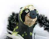 Toby, stuffed sloth deluxe, one of a kind handmade art doll