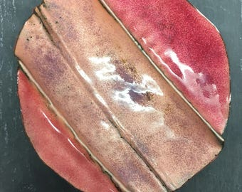 Amber Fold Forming Enamel Dish