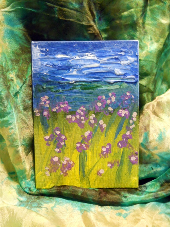 """Blooms by the Lake, Acrylic Painting on 7 x 5"""" Canvas Panel, Folk Art, Stacey Torres Artist, Lavender Flowers"""