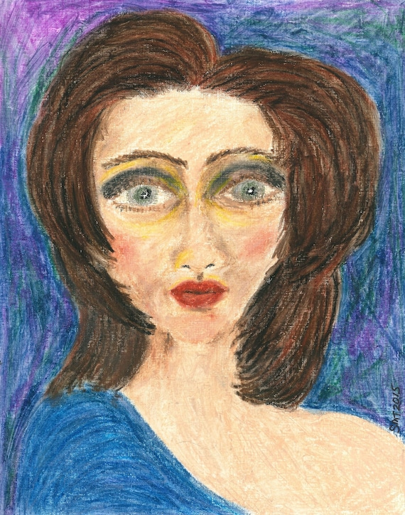 AUBREY. 2016, Oil Pastel Drawing, Framed Portrait, Outsider Folk Art, by Hoosier Artist Stacey Torres