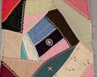 """Antique Victorian Crazy Quilt 10"""" Square Remnant, Hand Stitched and Pieced"""