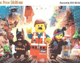 "Lego movie Cross Stitch Lego movie Pattern point de croix, embroidery, needlework - 23.64"" x 13.93"" - L204"