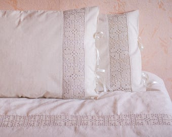 Cotton Lace Duvet Cover Set. Queen Size Bedding. Ivory Chic Bedding set. Queen duvet set. Bohemian bedding. Crochet bedding. Crochet duvet.