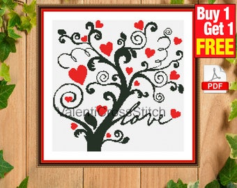 Tree Cross Stitch Pattern, Love Tree, Cross Stitch Pattern, Patterns, Chart, Counted Cross Stitch, #sp 179