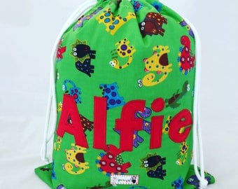 Personalised PE Bag, Children's PE Bag, Waterproof Swim Bag, Gym Bag, Dinosaur Named School Bag, PE Kit, Nursery Bag, Water Resistant Bag