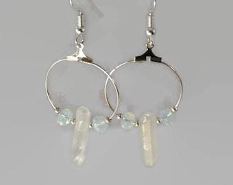 Quartz hoop earrings, quartz earrings, gemstone earrings, titanium coated quartz jewelry, hoop earrings, raw quartz earrings.