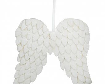 """15"""" White Glitter Angel Wings/wreath Supplies/Christmas Decoration/82675WT"""
