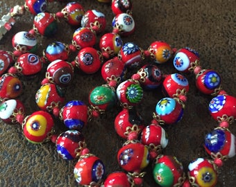 Vintage Red Millefiori Necklace