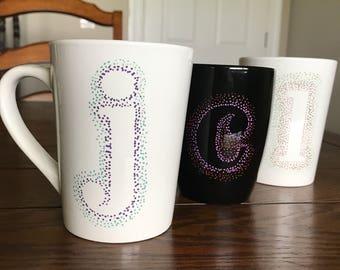 Custom Dot Letter Mugs