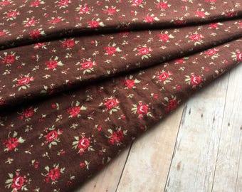 Deep Brown Vintage Floral Fabric - Red Flowers - 2 Yards