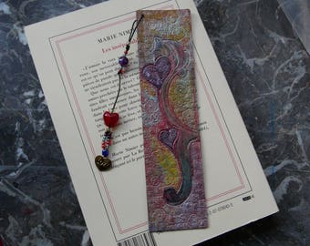 "Leather bookmark ""hanging heart"""