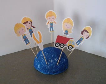 CONSTRUCTION  Girl CakeToppers...Construction Girls  Cupcake Toppers ...Set of 12... Choice of one side or two sided pick