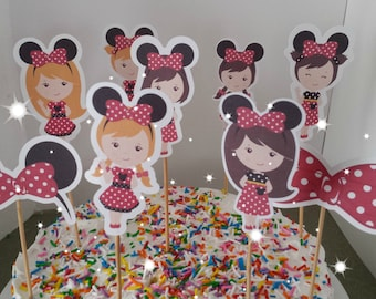 Minnie Mouse Cupcake Toppers, Minnie ears, Minnie Birthday,Girl party, red polka dot party, Set of 12.. Choice of one side or two sided pick