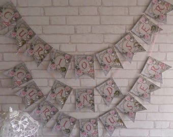 Alice in Wonderland Curiouser and Curiouser Bunting,Garland,Flag,Banner - Party,Decoration,Floral,Tea Party,Decor,