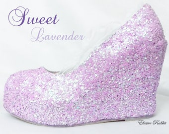 Lilac Lavender Bridal Chunky Glitter Wedding Custom Personalized Women Peep  Toe Glitter Shoe High Heel Stiletto