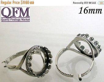 ON SALE 1Pc 16mm Adjustable locking Ring Sterling Silver 925 - Round Bezel Cup ring in Silver, Round Shaped - flowered style - JBB - Jewelry