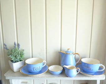 Tea for two set cups and saucers teapot milk jug sugar bowl 8 piece set moi toi nous deux 1950s as new Villeroy and Boch vintage French blue