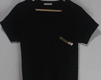 1000 ON SALE Vintage 90s Chocolate korean urban style v neck gold pocket tee shirt