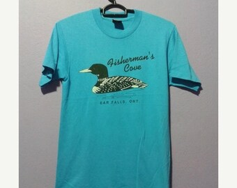 ON SALE 4 Vintage 80s retro fishermans cave ear falls ont duck graphic tee shirt