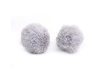 10 35mm colour grey plush soft tassels