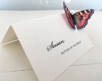 Butterfly Wedding Place Card, Place Cards, Name Cards, Place Setting, Painted Lady Butterfly, Vellum Place cards