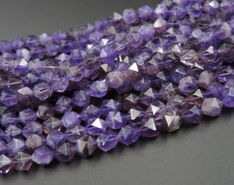Royal Purple~ Genuine 100% Natural Amethyst Faceted Star Cut Rounded Nugget Beads Strand