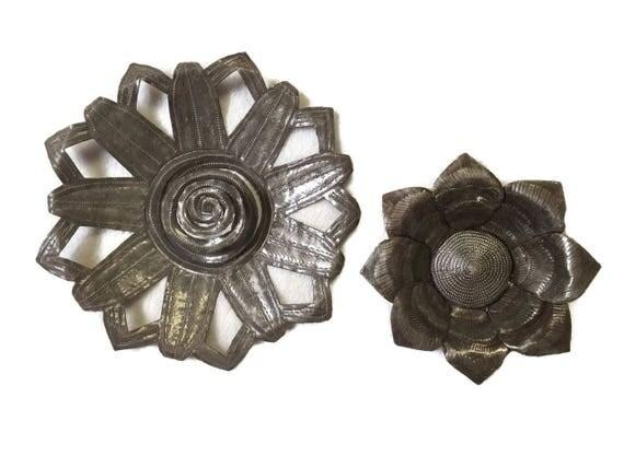 """Spring Flowers Handmade in Haiti Steel Drum Art, 8"""",10"""""""