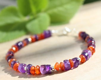 Beaded bracelet, Amethyst bracelet, Sterling silver bracelet, Purple bracelet, Orange bracelet, Stacking bracelet, Natural stone, Gemstone