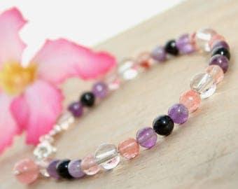 Beaded bracelet, Amethyst bracelet, Natural stone bracelet, Gemstone bracelet, Sterling silver bracelet, Purple, Pink, Crystal bracelet Gift