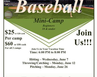 All 3 baseball camps at discounted price