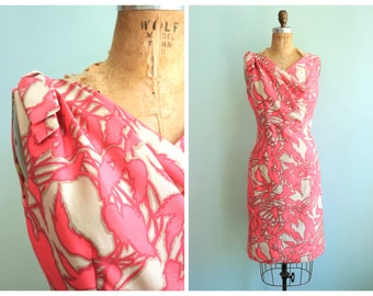 Vintage 1960's Bright Pink Silk Floral Dress | Size Small