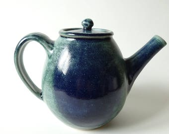 Blue Green Teapot - Handmade Ceramic Teapot - Teapot possible to use with loose tea leaves - Pottery - 1.1 Litre
