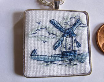 Dutch windmills pendant, Delft pendant, Dutch pendant, Cross stitch pendant, Cross stitch necklace, Needlepoint pendant -171101