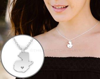 Guatemala Necklace - Guatemalan Pride, I heart Guatemala, Guatemala pendant  necklace