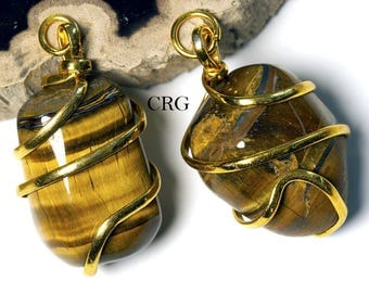 Gold Plated Spiral Wrapped Tumbled TIGER EYE Pendant (TU28DG)