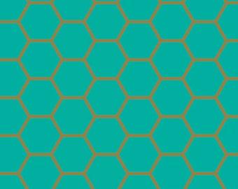 Art Gallery Blush Fabric Hexagon Teal Dana Willard Cotton Fabric