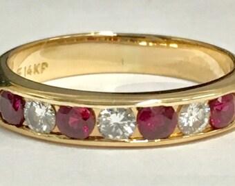 14k ruby diamond band